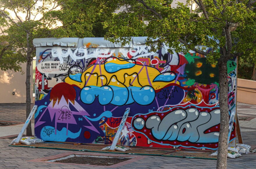 A view of the Berlin Wall replica at New College of Florida.