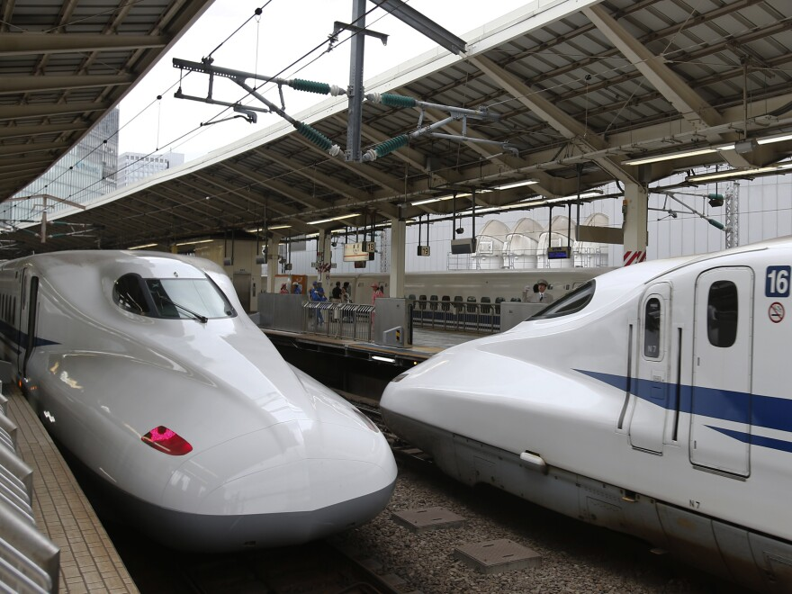 A Shinkansen bullet train arrives at Tokyo Station in Tokyo in 2014.