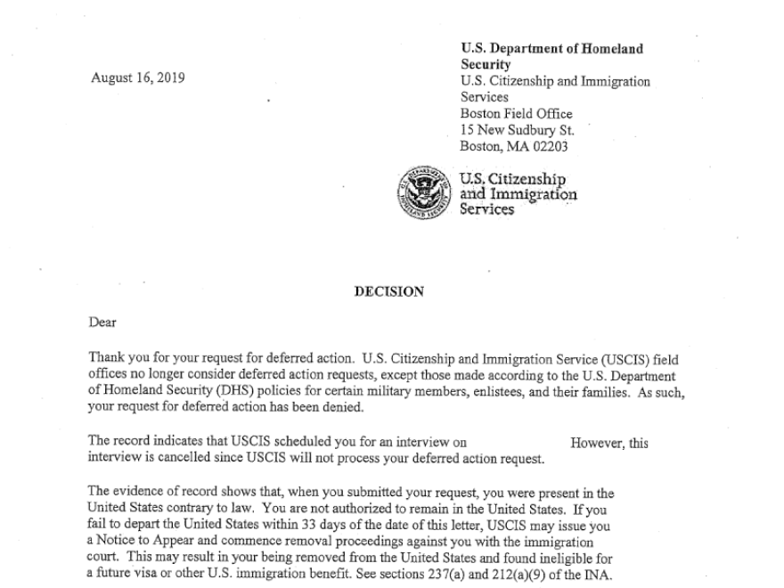 A copy of a letter the U.S. Citizenship and Immigration Service sent to immigrants saying the agency will no longer consider most deferrals of deportation for people with serious medical conditions.