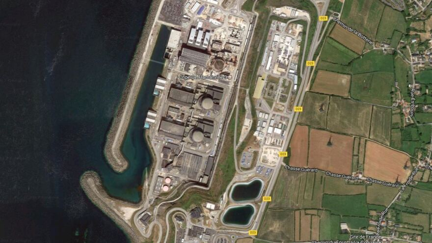 The Flamanville nuclear power facility sits on the shore of the English Channel. Officials say a fire at the plan has been contained.