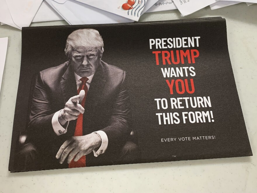 A mailer shows President Trump encouraging mail-in voting, despite his vocal opposition to it.