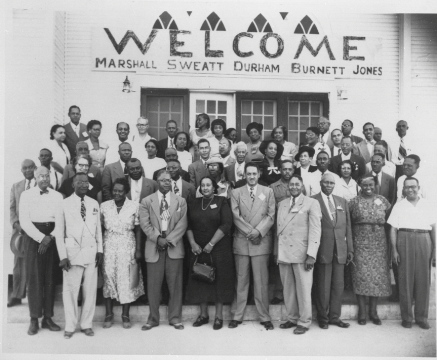 Lulu White and Thurgood Marshall in an NAACP photo.