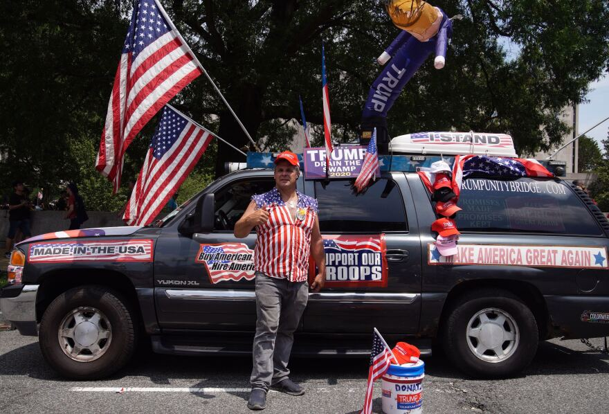 Rob Cortis from Livonia, Mich., says he has visited 48 mainland states for pop-up rallies with his Trump Unity Bridge. He displayed it at the National Independence Day Parade.