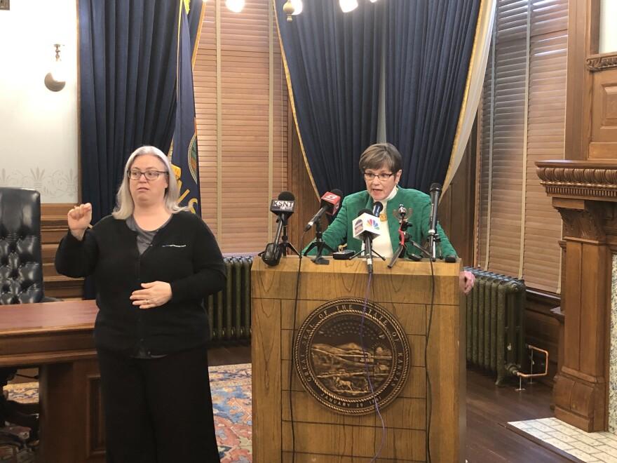 Kansas Governor Laura Kelly with interpreter
