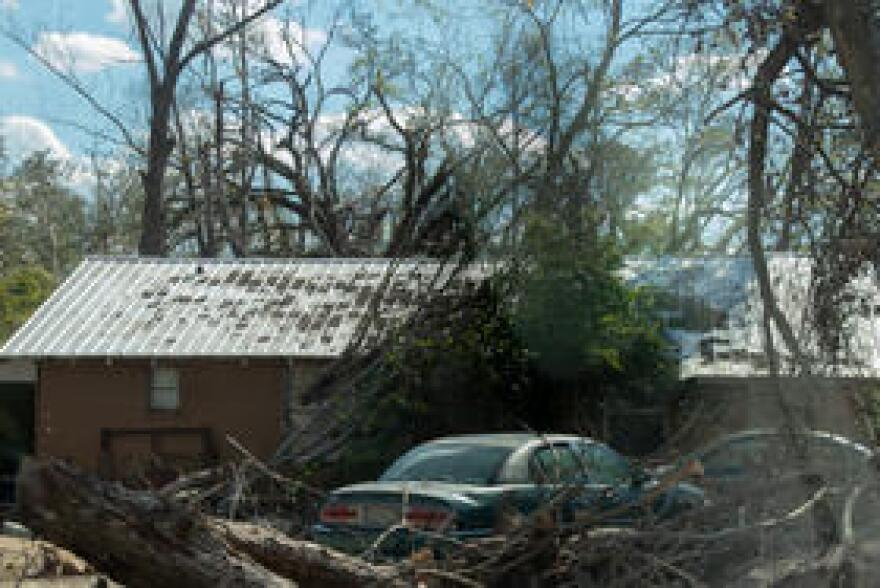 A tree felled by Hurricane Michael remains on the roof on a home in Marianna, Florida, three months after Hurricane Michael struck the area. (1/30/19).