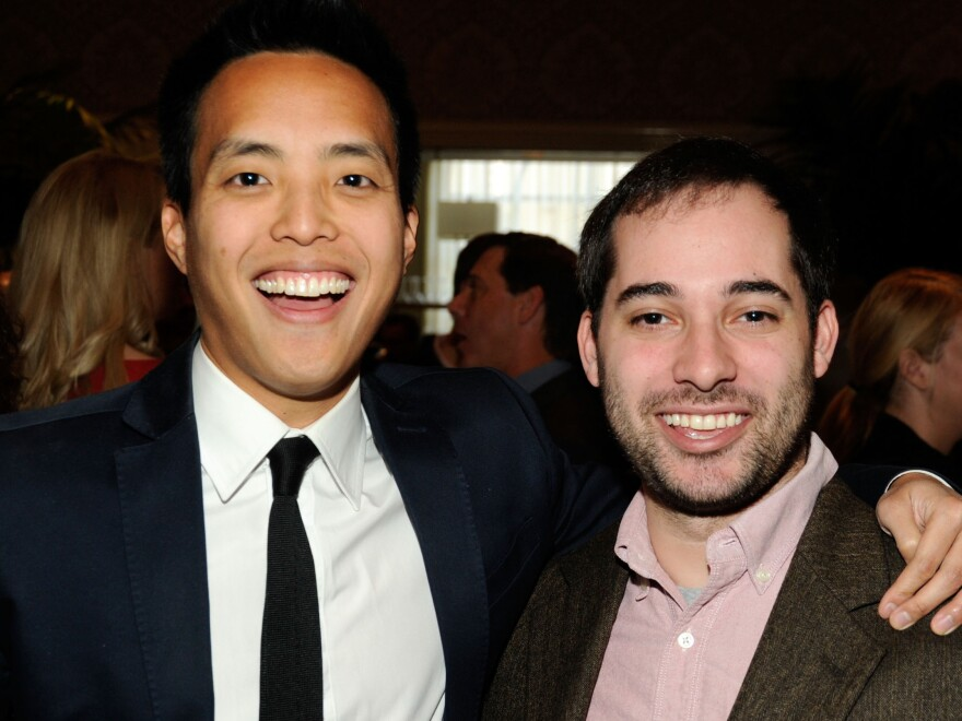 Alan Yang poses fellow writer Harris Wittels at the 2012 AFI Awards. Wittels died on Feb. 19, 2015.