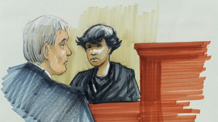 In this courtroom sketch, singer and actress Jennifer Hudson testifies on Monday in Chicago at the murder trial of William Balfour.