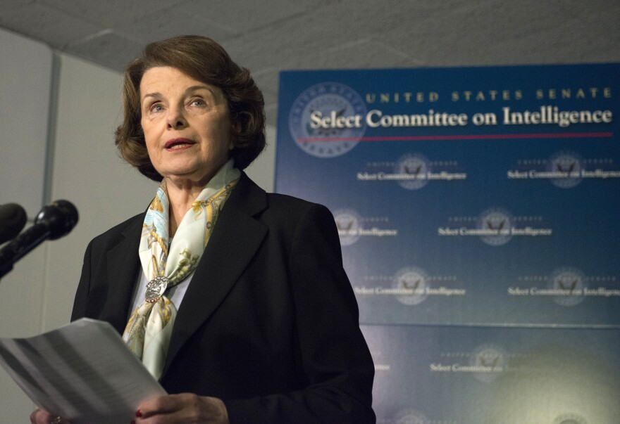"""Dianne Feinstein, chairwoman of the Senate Intelligence Committee, speaks to reporters in April. She tells NPR she's """"not particularly"""" comfortable with the CIA vetting the """"Torture Report."""""""