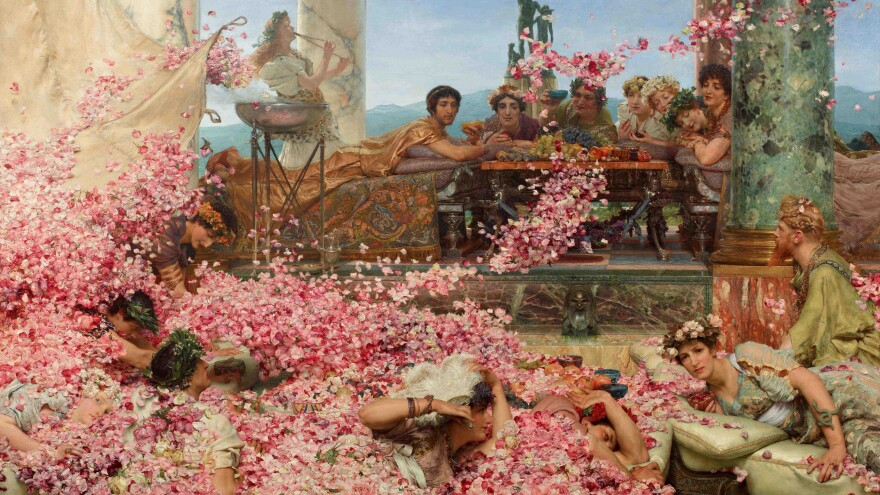 <em>The Roses of Heliogabalus</em> by Alma-Tadema (1888), oil on canvas. In a banquet room with a false ceiling, the Emperor Elagabalus was said to have buried his guests in violets and other flowers, so that some were actually smothered to death — the story is probably fictional.
