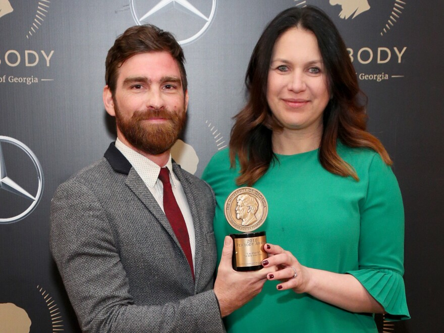Rukmini Callimachi and colleague Andy Mills pose with their Peabody Award for 'Caliphate' at the 78th Annual Peabody Awards Ceremony in May 2019.