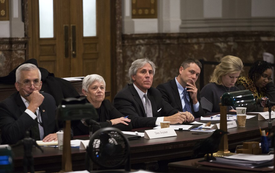 Members of the Board of Freeholders listen to concerns from St. Louis aldermen during the board's first meeting earlier this year.