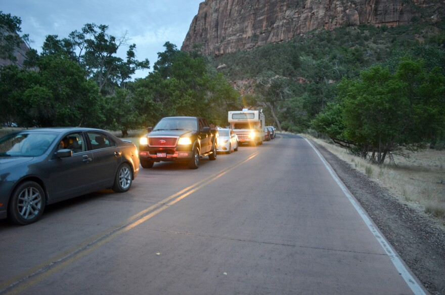 Photo of cars in Zion National Park.