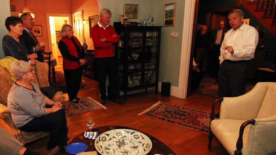 Republican presidential candidate Lindsay Graham visited the home of Juliana Bergeron and her husband Arto Leino in Keene, N.H. in October.