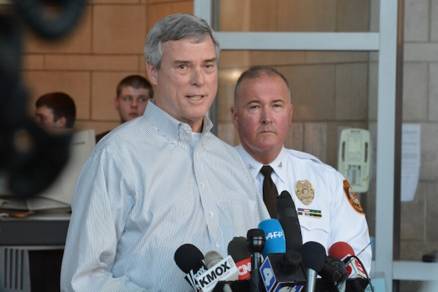 St. Louis County Prosecutor Bob McCulloch and St. Louis County Police Chief Jon Belmar announce on March 15, 2015, the arrest of suspect Jeffrey Williams in shooting of police