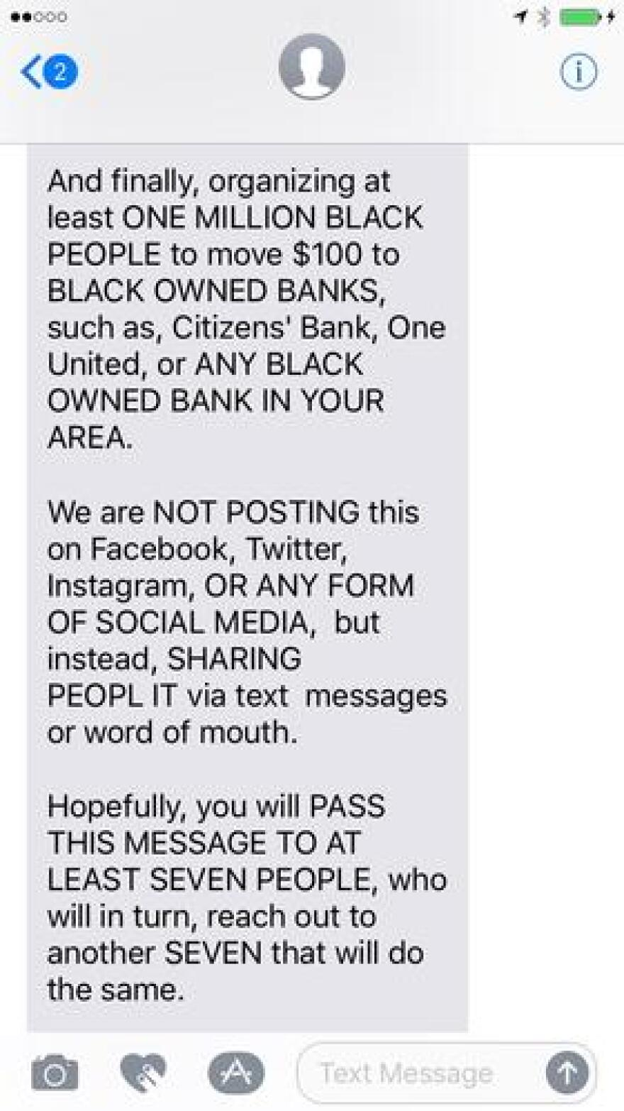 The text that helped push the #BankBlack movement.