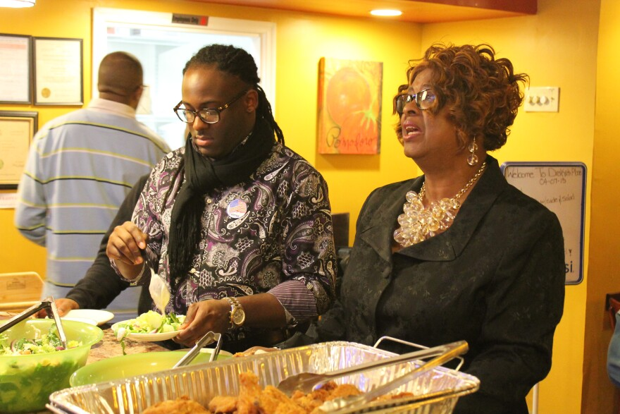 Ella Jones, right, coasted to victory over three other candidates in Ferguson's Ward 1.