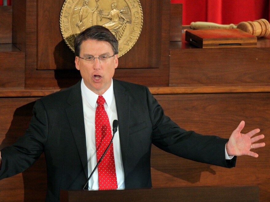North Carolina Gov. Pat McCrory delivers the State of the State address in February in Raleigh.
