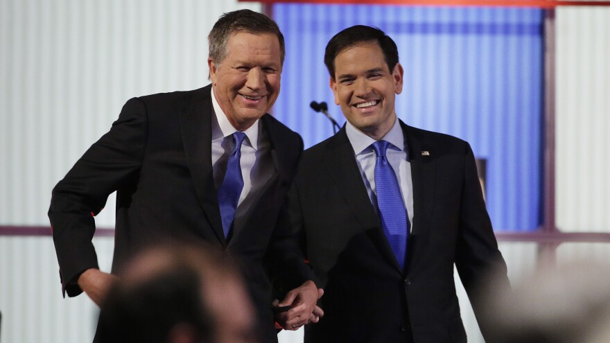 Marco Rubio's campaign is encouraging voters in Ohio to vote for its governor, John Kasich, on Tuesday in a strategic effort to stop Donald Trump.