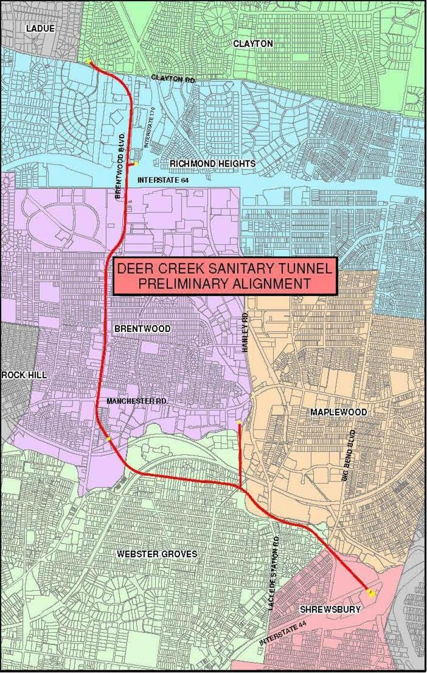 A map of the Deer Creek Sanitary Tunnel that the MSD is building in St. Louis County.