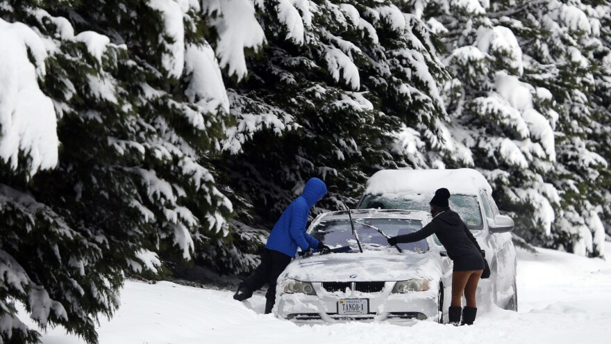 A Richmond, Va., roadway was blanketed by snow after a winter storm hit several U.S. states.