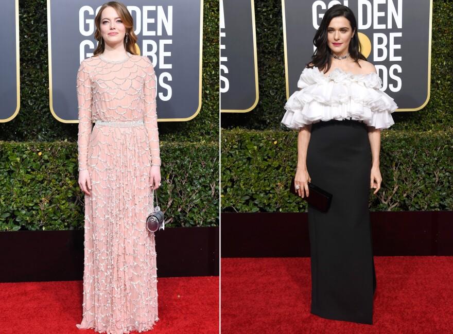 Emma Stone, left, and Rachel Weisz, right