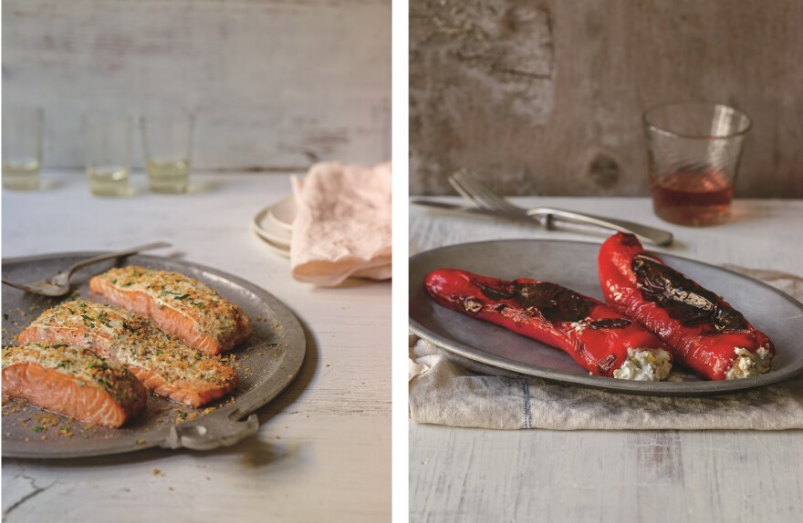 Left: Salmon marinated in yogurt infused with fennel seeds and fresh tarragon. (Recipe is below.) Right: Sweet peppers stuffed with labneh, a recipe the author encountered on the Greek island of Kea. From <em>Yogurt Culture</em>, by Cheryl Sternman Rule