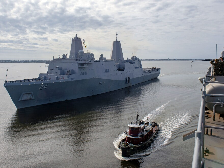 The USS Arlington, shown in December in Morehead City, N.C., has been sent to the Middle East to bolster an aircraft carrier force sent to counter alleged threats from Iran.