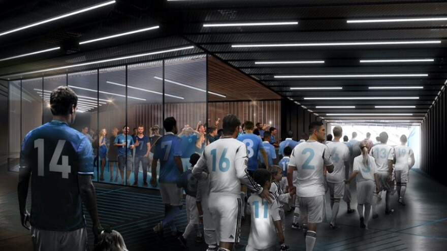 """A rendering of what the Charlotte MLS team's new tunnel and """"Tunnel Club"""" lounge might look like. Fans would have a view of players as they enter the stadium."""