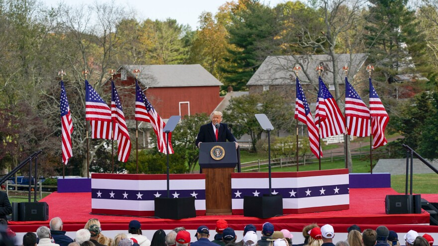 President Trump speaks at a campaign rally in Newtown, Pa., on Saturday — one of four stops in the crucial swing state.