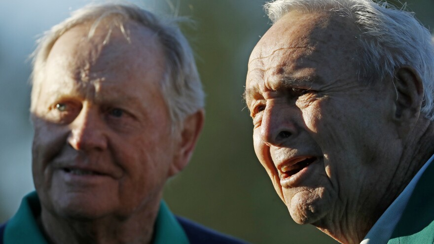 Palmer (right) with Nicklaus at the Masters in 2016.