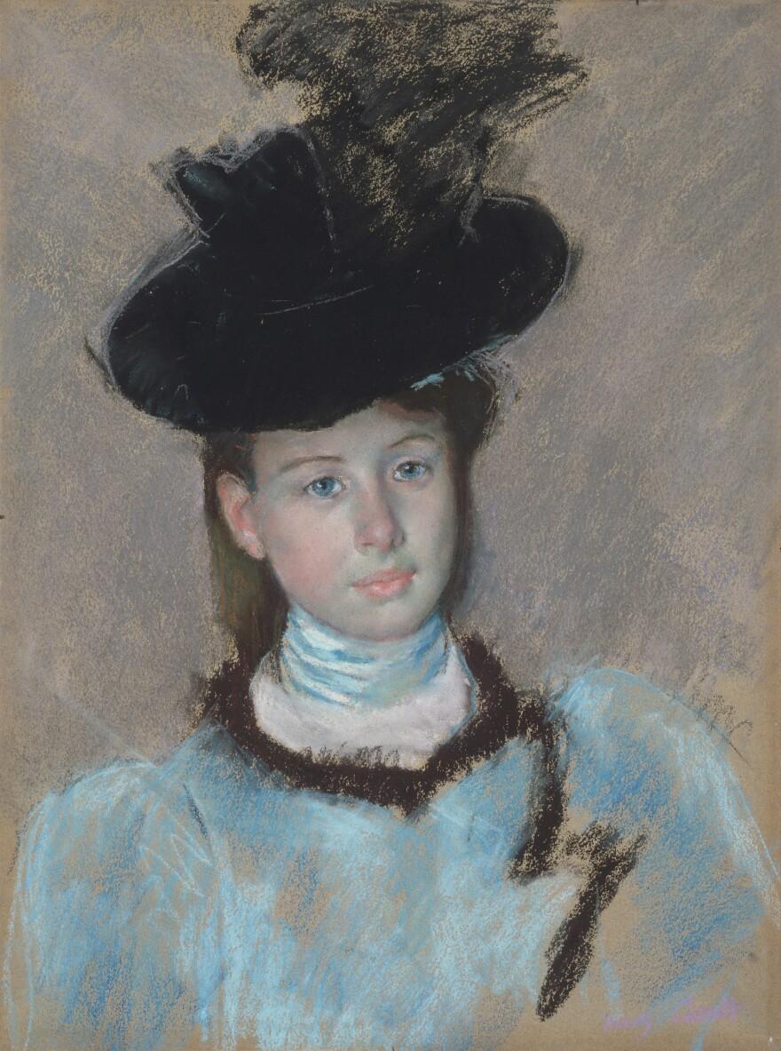 Mary Cassatt's c. 1890 <em>The Black Hat, </em>pastel on tan wove paper
