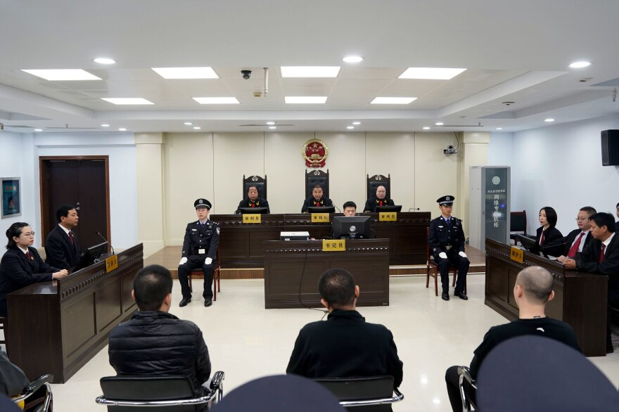 Fentanyl drug traffickers are sentenced in court last year in Xingtai in northeast China's Hebei province. The court sentenced at least nine fentanyl traffickers in a case that was the culmination of a rare collaboration between Chinese and U.S. law enforcement to crack down on global networks that manufacture and distribute lethal synthetic opioids.