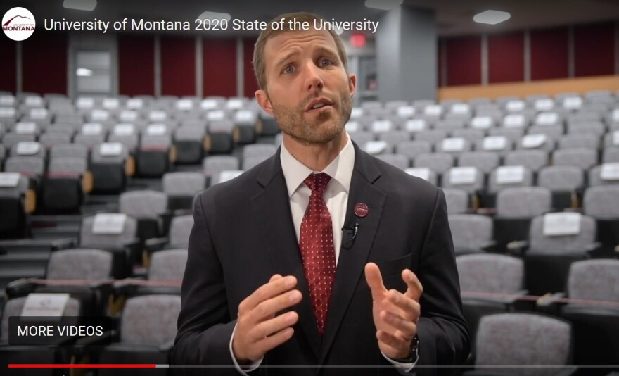UM President Seth Bodnar delivers his state of the university address via pre-recorded video, August 27, 2020.