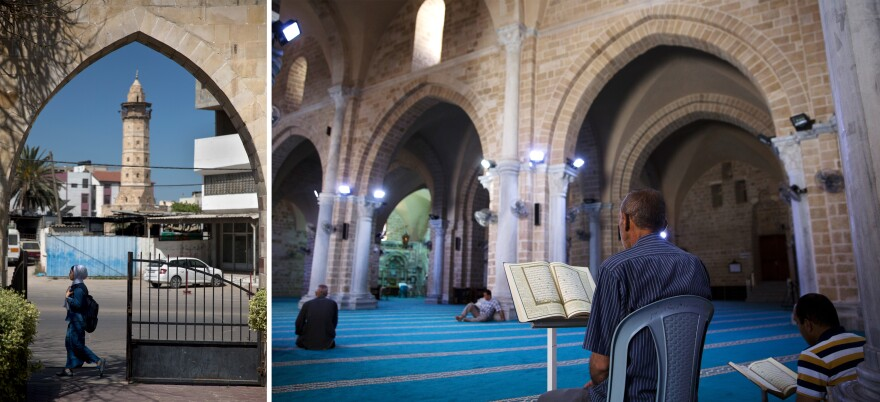 Left: A Palestinian schoolgirl in Gaza City passes by the main entrance to Pasha's Palace as the minaret of the Omari Mosque is seen in the background. Right: Palestinians spend a Ramadan fasting day reading the Quran inside the Omari Mosque.