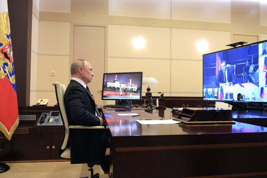 Russian President Vladimir Putin chairs a Security Council meeting via a video link at the Novo-Ogaryovo state residence outside Moscow.