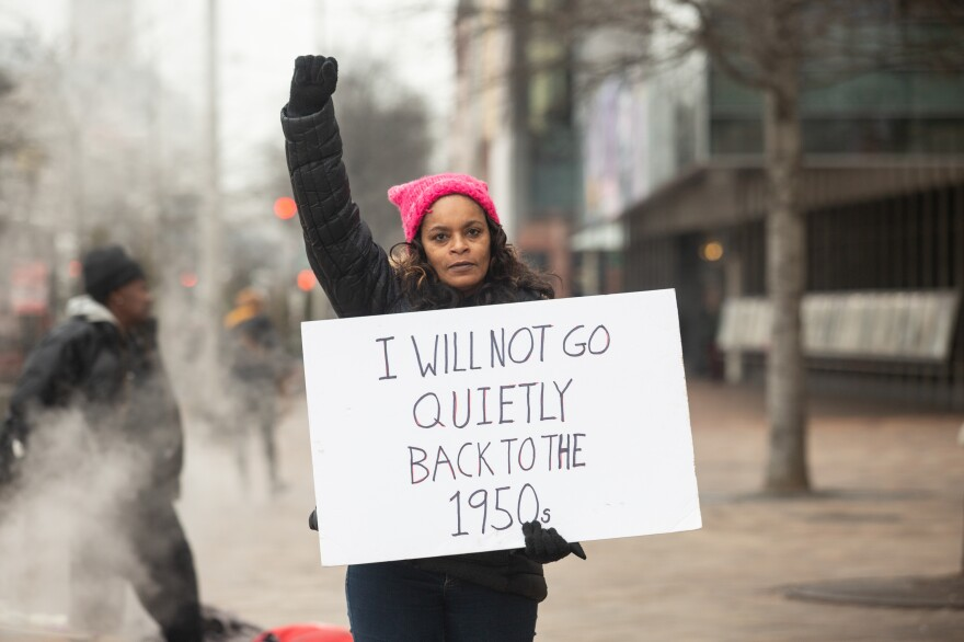 Tanya Brooks rode on a bus overnight from Bay City, Mich., to attend the Women's March in Washington, D.C. She also attended the inaugural Women's March in 2017.