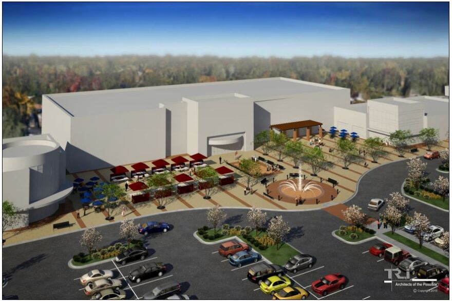 A rendering shows a community plaza that will anchor one part of UrbanStreet's redevelopment of the former Crestwood Court.