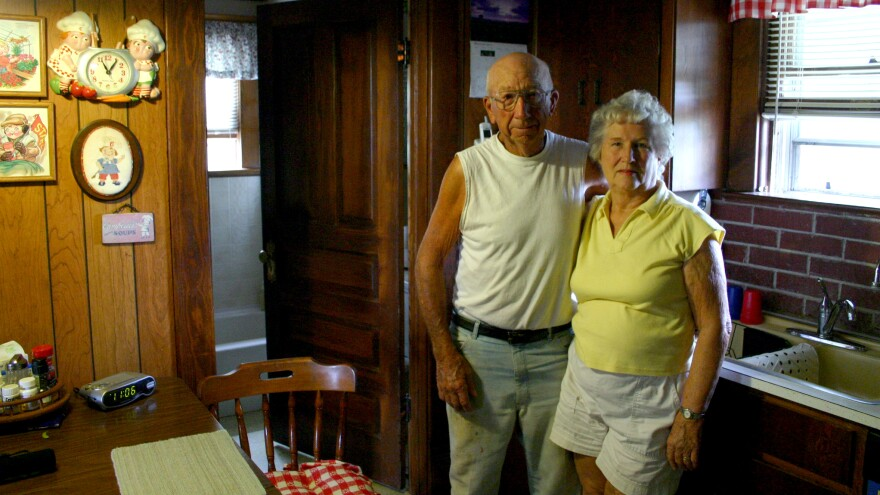 Lee and Shirley Wohler in the kitchen of their farmhouse south of Waterville, Kan.