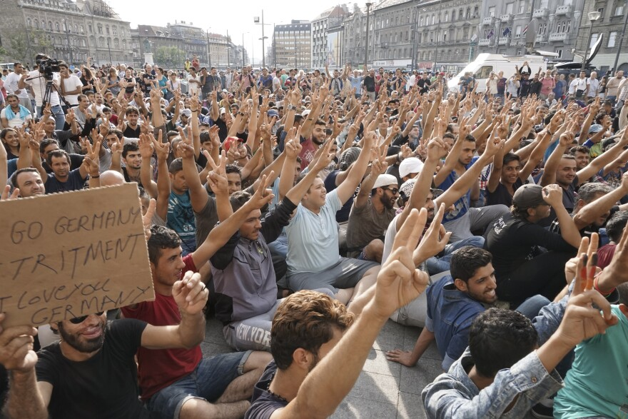 Syrian refugees on strike in front of Budapest's Keleti railway station in Hungary.