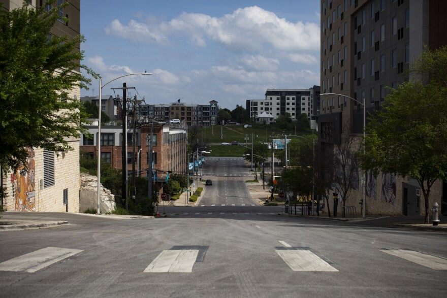 Empty streets in downtown Austin during the coronavirus pandemic.