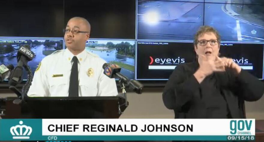 Charlotte Fire Department Chief Reginald Johnson discusses preparation for Tropical Storm Florence Saturday, Sept. 15.