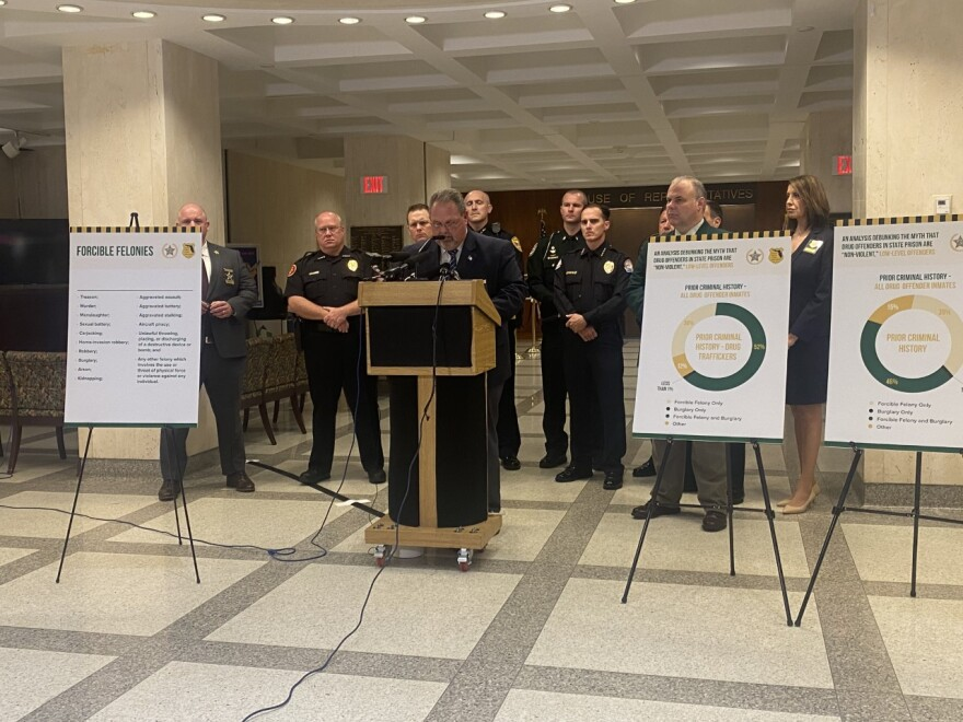 Gary Hester with the Florida Sheriffs Association speaks at a press conference February 18, 2020 at the Florida Capitol alongside members of the Florida Police Chiefs Association.
