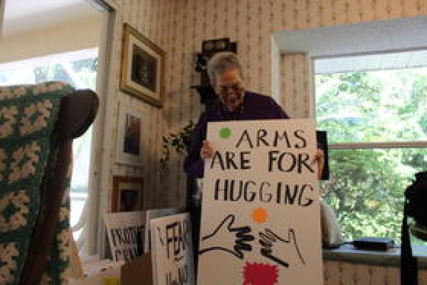 Judy Kramer, 76, and her husband Oscar, 79, began working on picket signs this week along with six other members of their group. On Saturday, they will show support for the young protesters they've seen on television.