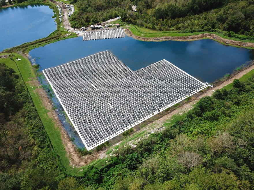 Fort Bragg's floating solar farm will be similar to this one in Altamonte Springs, Fla.