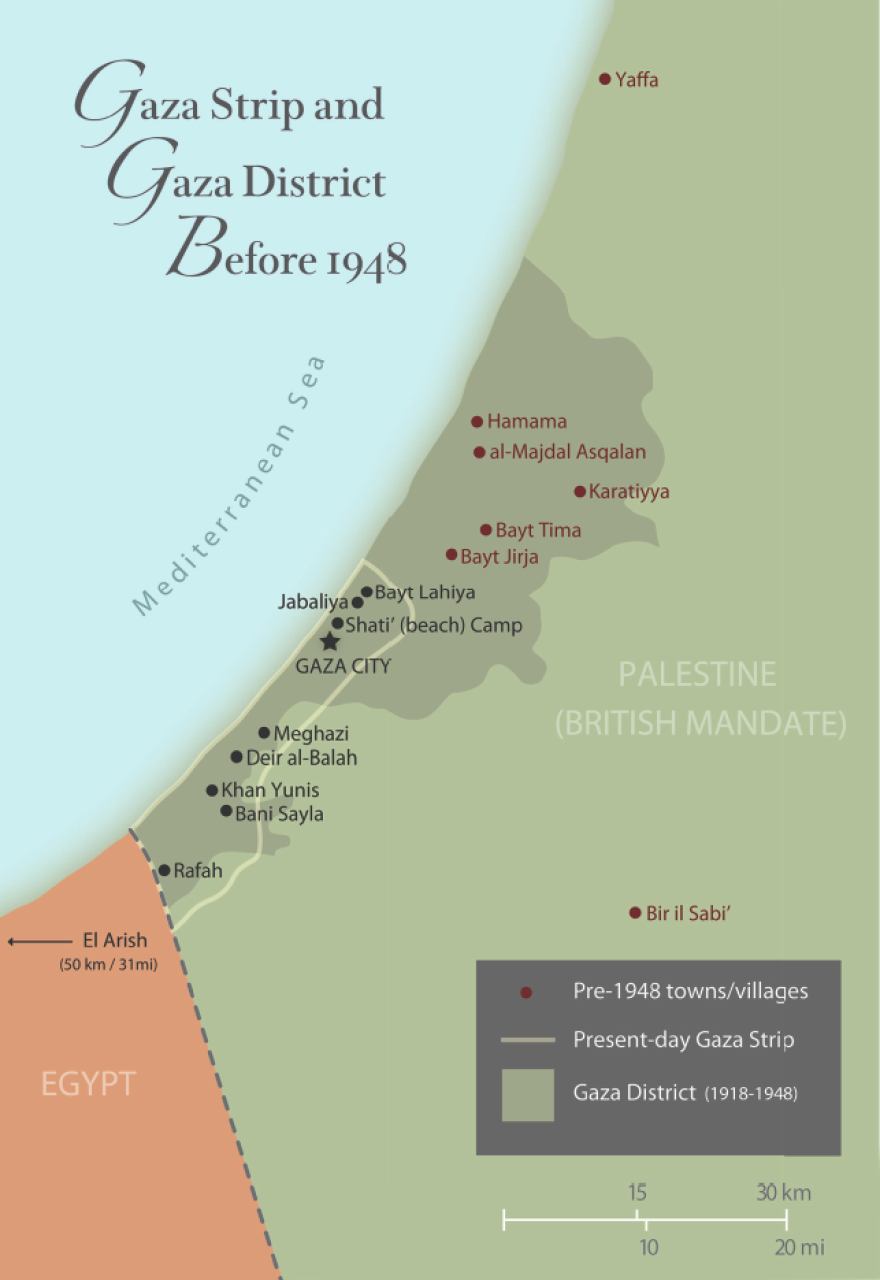 A map of historic Gaza before the first major Arab-Israeli war in 1948.