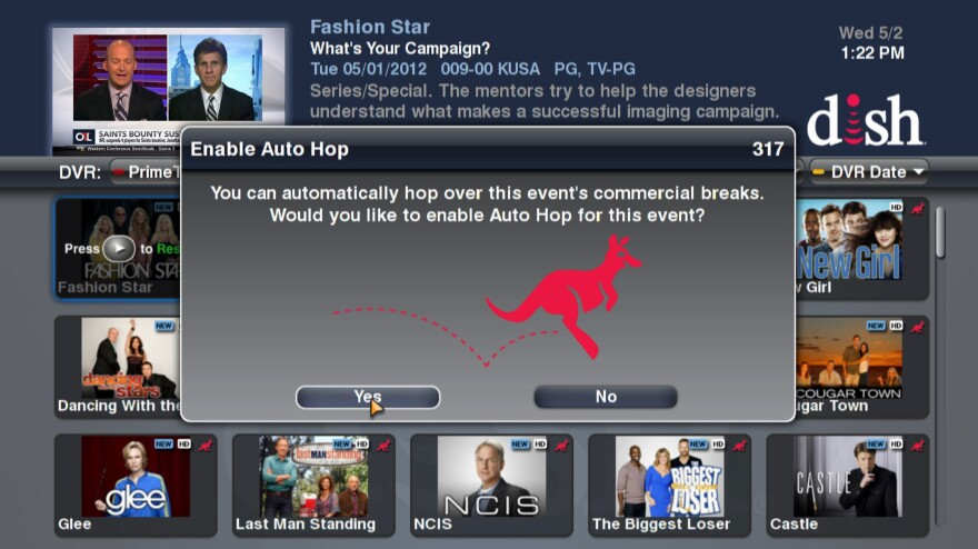 This image provided by Dish Network shows a screen message of the AutoHop feature, which allows customers to skip over commercials.