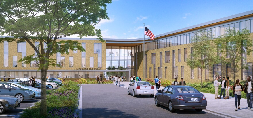 An architecture rendering of how the entry to Lindbergh High School will look following construction of a new building. Voters are being asked to approve a $105 million bond to pay for the constructions.