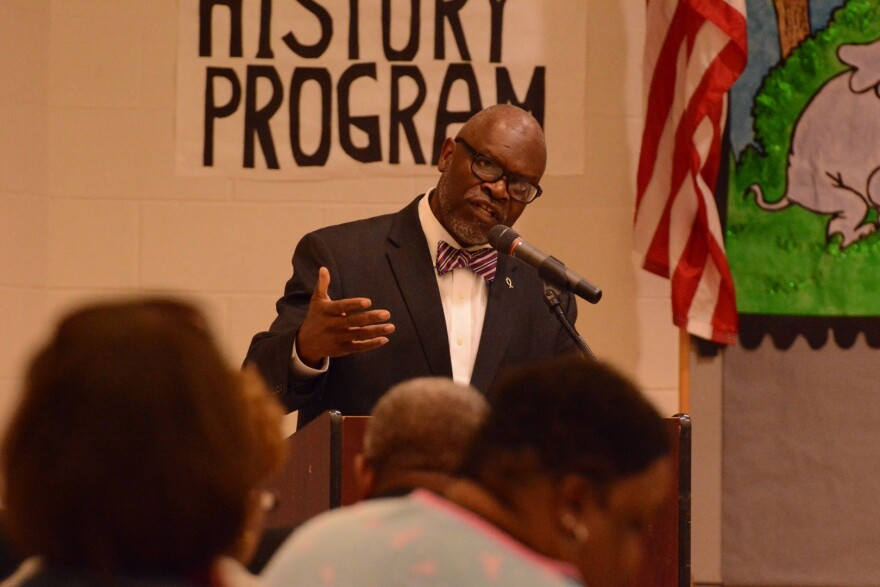 Normandy Superintendent Charles Pearson addresses the hearing Thursday night.