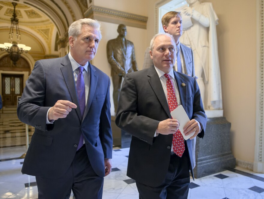House Majority Leader Kevin McCarthy of California (left) and House Majority Whip Steve Scalise of Louisiana were both re-elected to leadership positions for the next Congress, but this time, they'll be in the minority.