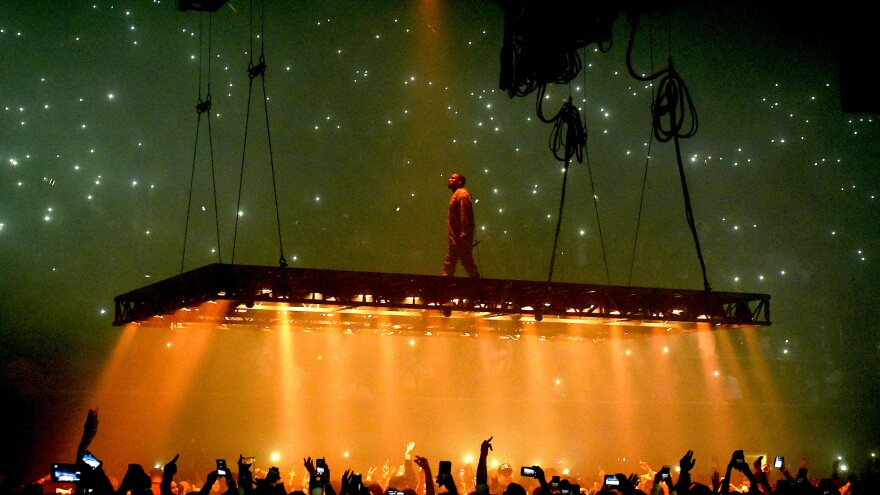 Kanye West performs during his Life of Pablo tour in California on October 25, 2016.